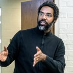Deen Freelon delivering a lecture.