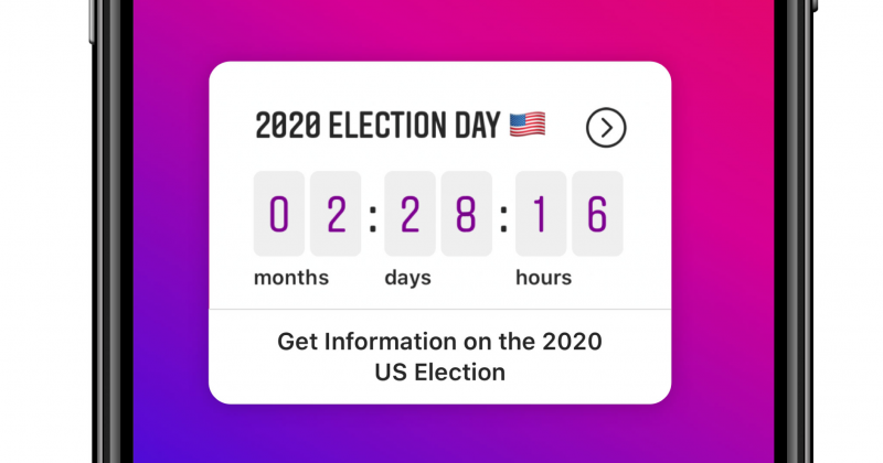 image of an election-day countdown on an Instagram user's screen, showing 2 months, 28 days, and 16 hours to the election