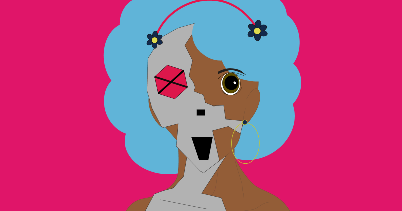 logo for Does Not Compute, showing the profile of a half-person, half-robot