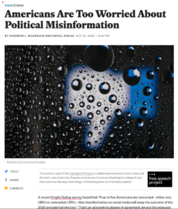 """Screen shot of """"Americans are too Worried about Political Misinformation"""" as it was published on the Slate website"""