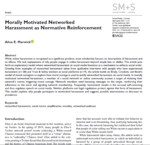 Image of Morally Motivated Networked Harassment paper as printed in Social Media + Society