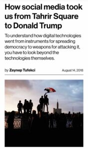 """Image of """"How social media took us from Tahrir Square to Donald Trump"""" as published on the MIT Technology Review site"""