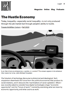 image of The Hustle Economy as displayed on the Dissent Magazine website